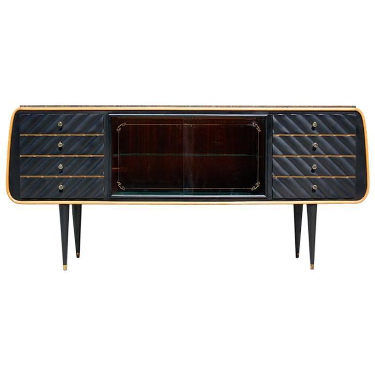 Stylish Italian Veneer Sideboard with Granite Top, circa 1950s