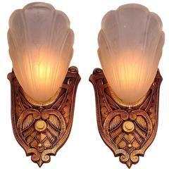 Pair of Slip Shade Sconces, 1920s-1930s