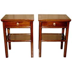 Pair of End Tables with Drawer and Shelf
