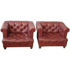 Matched Pair of Oxblood Chesterfield Club Chairs
