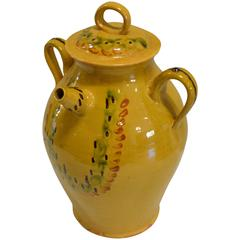 Turn of the Century Large Covered Earthenware Water Jug