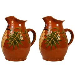 Turn of the Century Pair of Earthenware Pitchers 'Grapes'