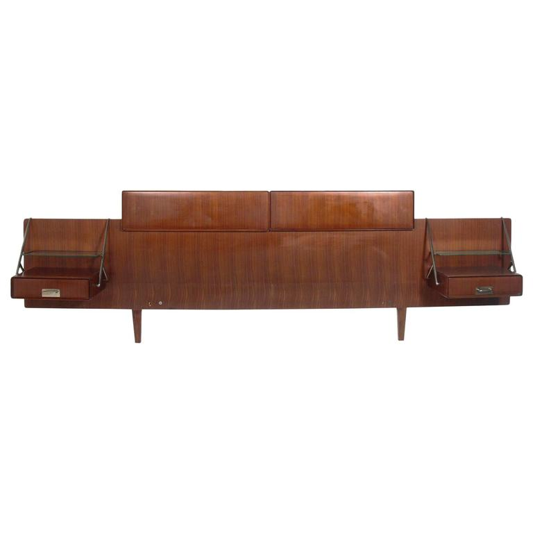 Silvio Cavatorta Rosewood Headboard with Floating Nightstands