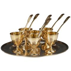 Antique Russian 19th Century Gilded Silver Sherbet Set for Six