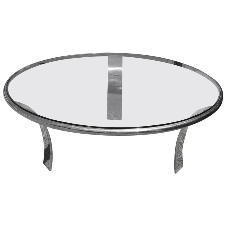 Sleek round stainless chrome and glass modern minimalist for Round glass coffee tables for sale