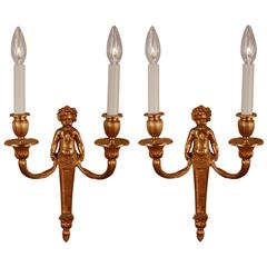 Pair of Louis XVI Style Wall Bronze Wall Sconces