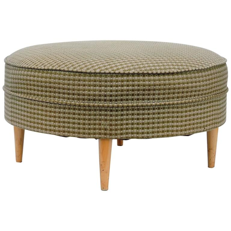 big round ottoman pouf for sale at 1stdibs. Black Bedroom Furniture Sets. Home Design Ideas