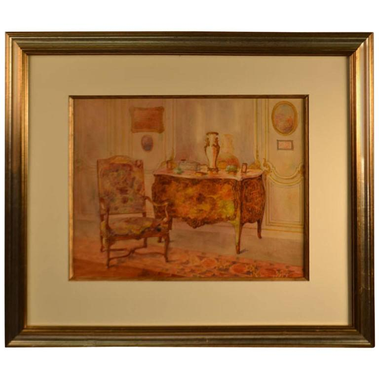 Mid 20th century framed ink and wash furniture for sale at for Mid 20th century furniture