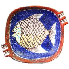 Mid-Century Dish with Fish Motif by Raymor, Made in Italy