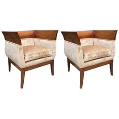 Pair of French Art Deco Style Lounge Chairs