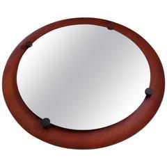 Italian Round Teak and Rosewood Mirror