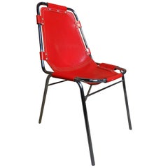 Mid-Century Modern 1960 Red Leather Perriand Chairs for Les Arcs, 1960