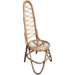 Mid-Century Modern 1960 Cane / Bamboo Designer Chair