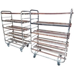 1920-1930s Original Vintage Metal French Bread Shelving Rack / Shop Display
