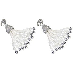 Stunning Kenneth Jay Lane Pair of Chandeliers Earrings Faux Pearl CZ and Crystal