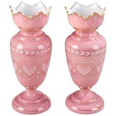 Pair of 19th Century Opaline Vases