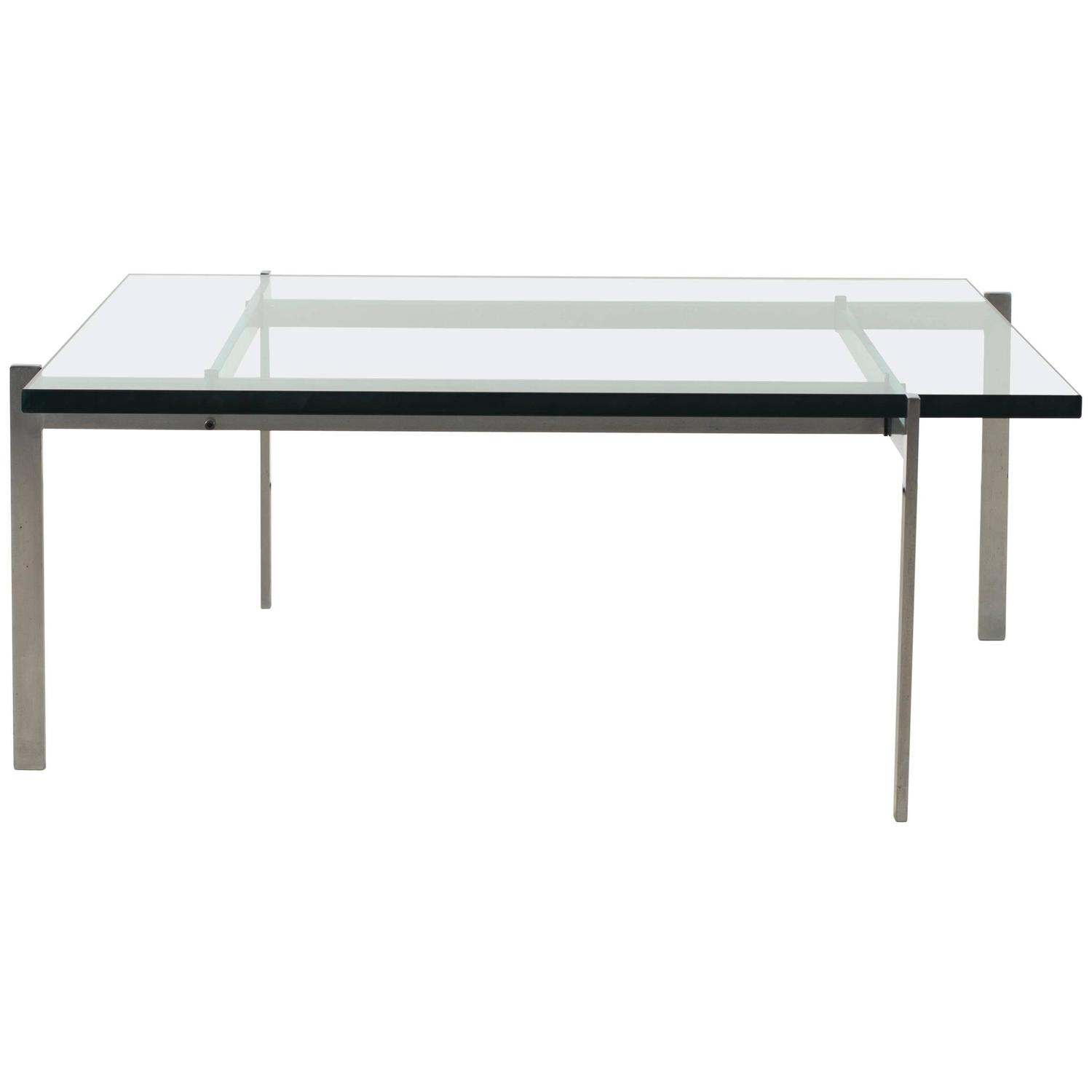 Poul Kjaerholm Coffee Table Metal and Glass PK61 E Kold
