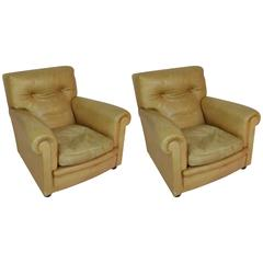 1960s Leather Cognac Color Club Armchairs marked Poltrona Frau