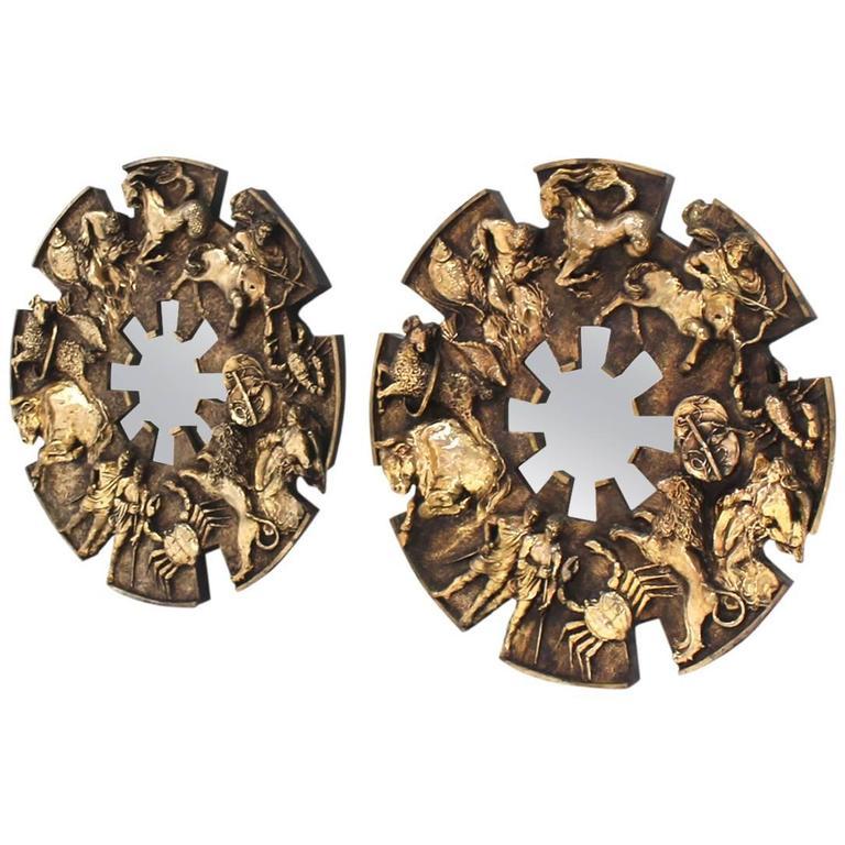 Pair of Large Zodiac Mirrors