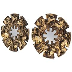 Pair of Large Zodiac Mirrors