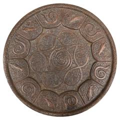 Intriguing and Esoteric Syrian Repousse Copper Charger with Serpents and Fishes