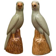Pair of Chinese Porcelain Celadon and Brown Glaze Parrots, circa 1920