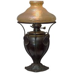 Art Nouveau Bradley & Hubbard Kerosene Lamp with Handblown Shade