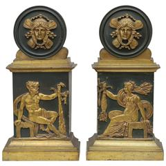 Pair of Empire Patinated and Gilt Bronze Bookends