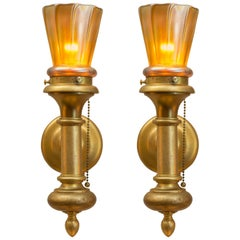 Pair of Gilt Bronze and Art Glass Sconces