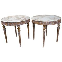 Italian Marble-Topped End Tables