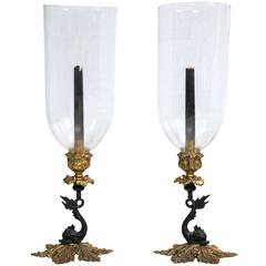 Pair of Brass Dolphin Candlesticks with Globes