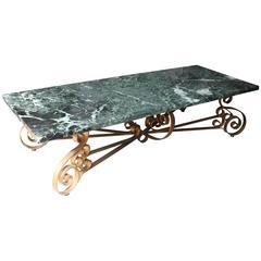 Italian Mid-Century Modern Large Gilt Metal and Marble Coffee Table, circa 1950s