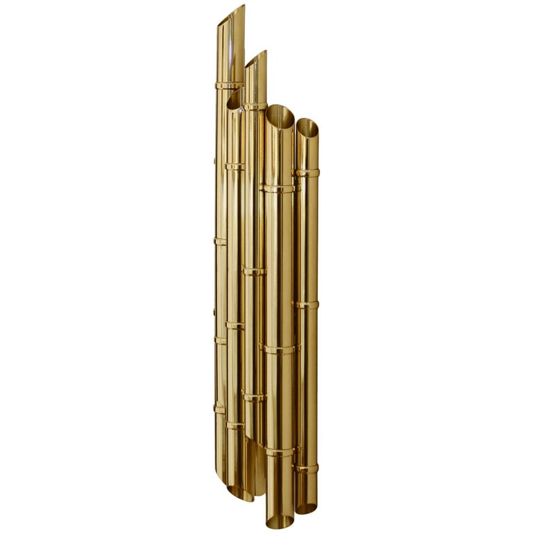 Bamboo Wall Light in Glossy Brass For Sale