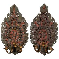 Pair of Antique French Tole Two Arm Sconces, circa 1880
