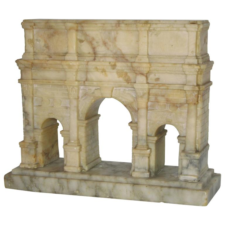 """Grand Tour"" Carved Alabaster Model of the Arch of Constantine For Sale"