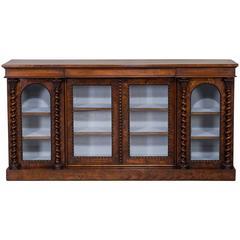 Antique English Walnut Mahogany Display Cabinet Bookcase, circa 1850
