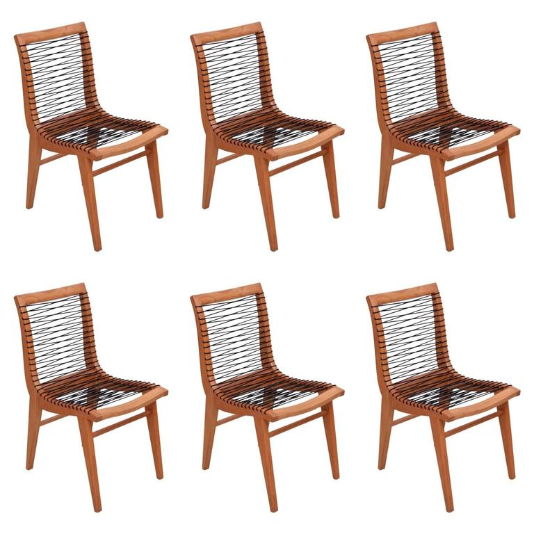 Set of Six Sculptural Louis Sognot Dining Chairs, France, 1950