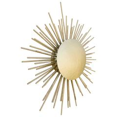 Sunrise Wall Light in Hammered Brass