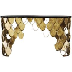 Carpus Console in Brushed Aged Brass with Nero Marble Top