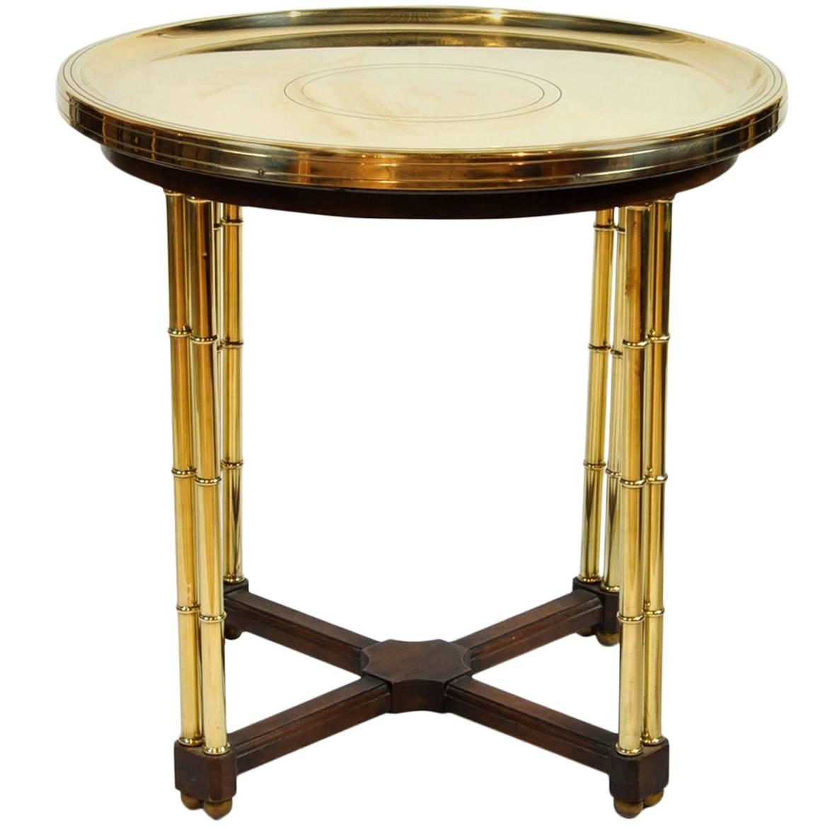 Vintage Brass Dish Top End Table With Faux Bamboo Legs At 1stdibs
