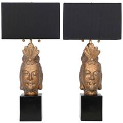 Restored Pair of James Mont Style Buddha lamps by Quartite Creative