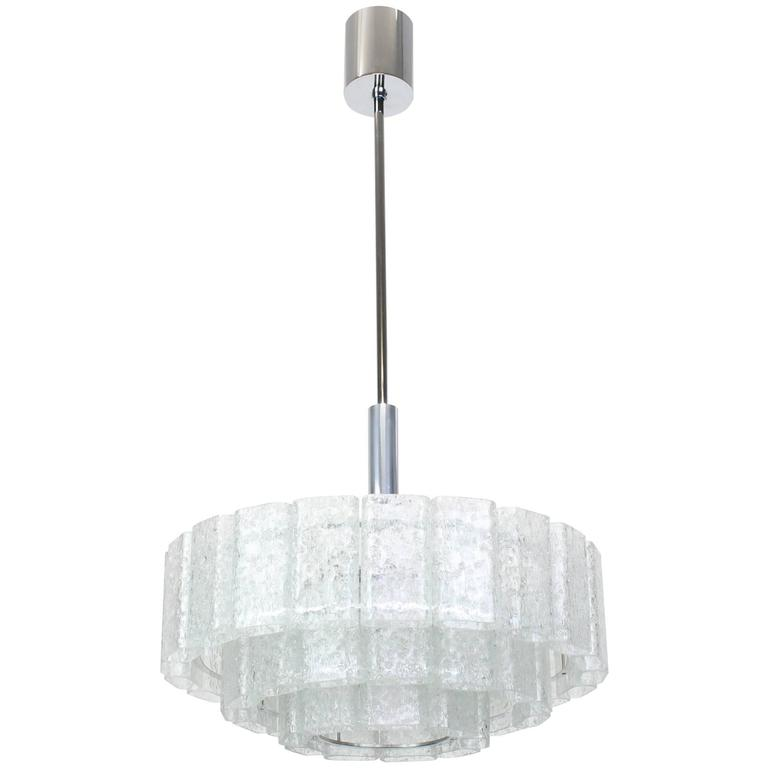 Large Ice Glass Chrome Chandelier by Doria, Germany, 1960s 1