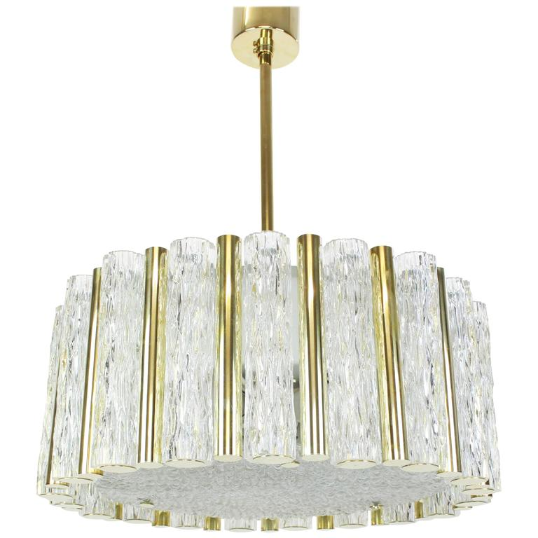 Impressive Large Ceiling Fixture In Brass Drum Form By