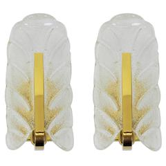Pair of Brass Wall Sconces by Carl Fagerlund for Orrefors, Glass Leaves, 1960s