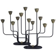 Gunnar Ander Pair of Candelabras for Ystad Metall, Sweden, 1960s