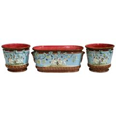 19th Century French Three-Piece Hand-Painted Barbotine Jardinière and Cache Pots
