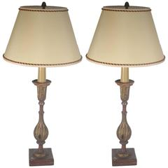 19th Century Pair of Painted and Gilded Wood Lamps