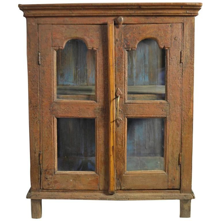 Late 18th Century Painted Wood Hanging Shelf With Glass Doors For Sale At 1stdibs