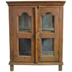 Late 18th Century Painted Wood Hanging Shelf with Glass Doors