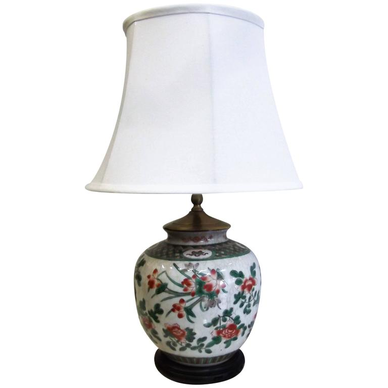 Chinese Porcelain Table Lamp With Rosewood Base For Sale
